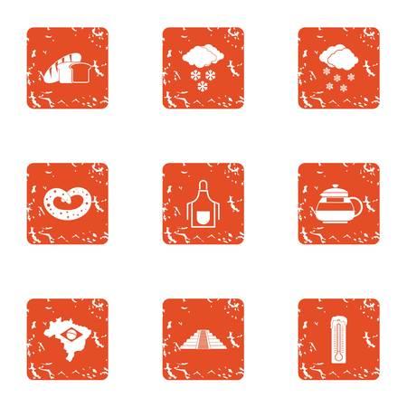 Hibernate icons set. Grunge set of 9 hibernate vector icons for web isolated on white background