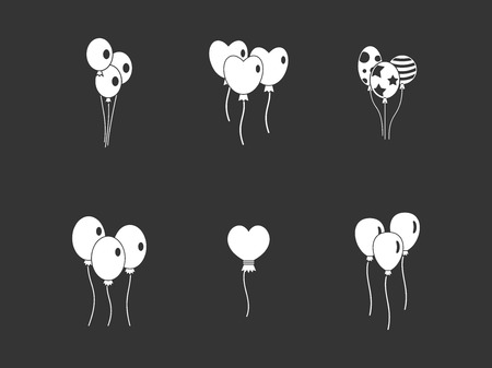 Ballons icon set vector white isolated on grey background
