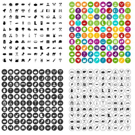 100 farmlands icons set vector in 4 variant for any web design isolated on white