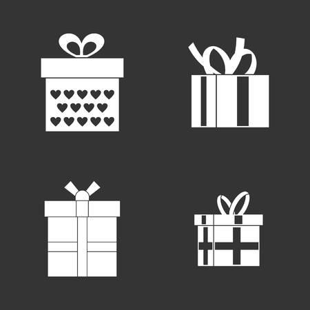 Gift box icon set vector white isolated on grey background