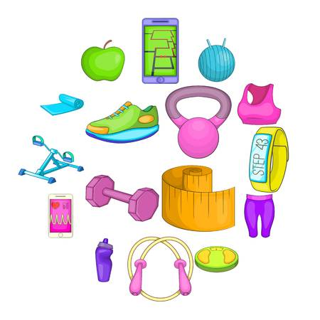 Healthy lifestyle icons set in cartoon style. fitness set collection vector illustration