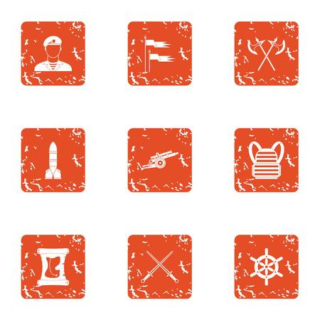 Martial icons set. Grunge set of 9 martial vector icons for web isolated on white background