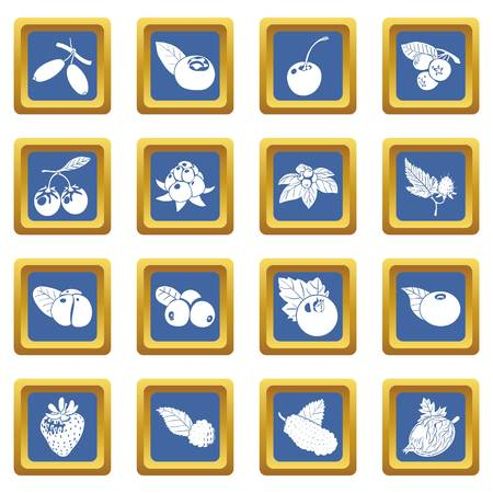 Berries icons set vector blue square isolated on white background