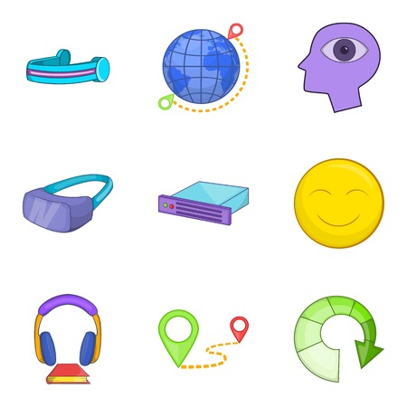 Web gadget icons set. Cartoon set of 9 web gadget vector icons for web isolated on white background Çizim
