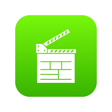 Movie cracker icon green vector isolated on white background