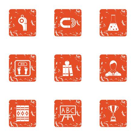 School education icons set. Grunge set of 9 school education vector icons for web isolated on white background