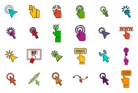Cursors icon set. Color outline set of cursors vector icons for web design isolated on white background