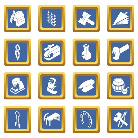 Blacksmith tools icons set vector blue square isolated on white background Stock Illustratie
