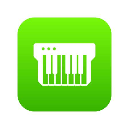 Synthesizer icon green vector isolated on white background Illustration