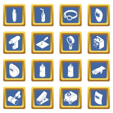 Welding tools icons set vector blue square isolated on white background Illustration