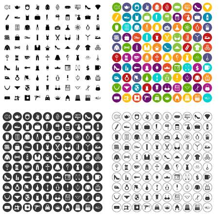 100 female goods icons set vector in 4 variant for any web design isolated on white
