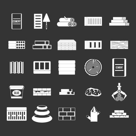Construction materials icon set vector white isolated on grey background