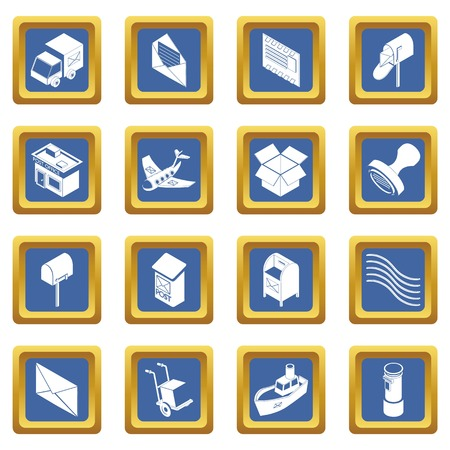 Poste service icons set vector blue square isolated on white background