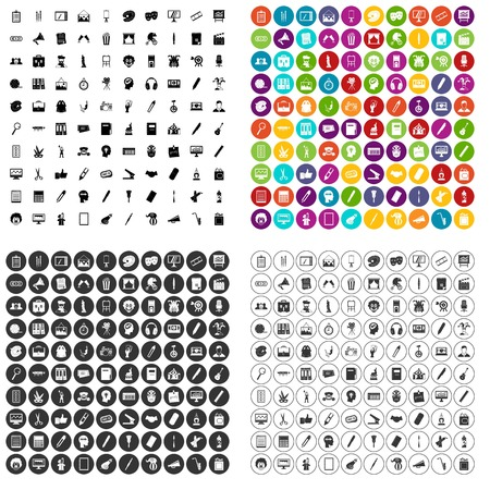 100 art guidance icons set vector in 4 variant for any web design isolated on white Illustration