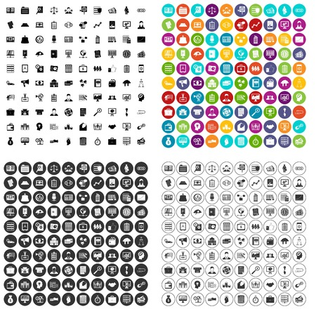 100 financial resources icons set vector in 4 variant for any web design isolated on white