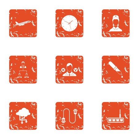 Assistance without border icons set. Grunge set of 9 assistance without border vector icons for web isolated on white background Illustration