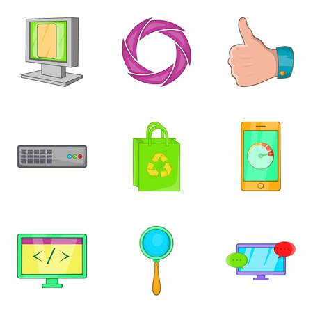 Cyber developed icons set. Cartoon set of 9 cyber developed vector icons for web isolated on white background