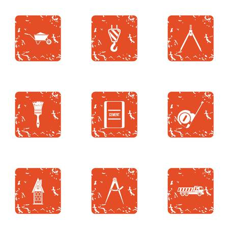 Repair in a row icons set. Grunge set of 9 repair in a row vector icons for web isolated on white background