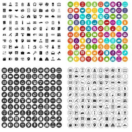100 financial backing icons set vector in 4 variant for any web design isolated on white