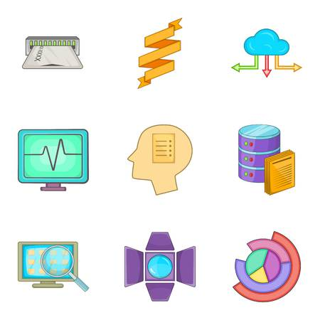 Web network icons set. Cartoon set of 9 web network vector icons for web isolated on white background