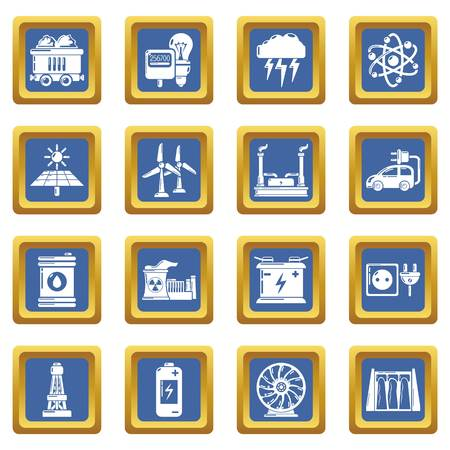 Energy sources icons set vector blue square isolated on white background  Illustration