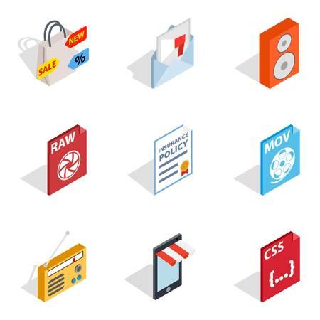 Web novelty icons set. Isometric set of 9 web novelty vector icons for web isolated on white background Çizim