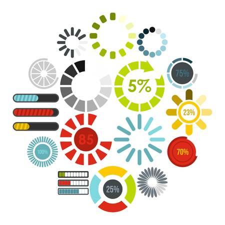 Download progress icons set in flat style. Load indicators set collection vector illustration Illustration