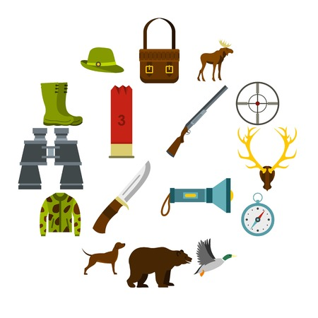 Hunting icons set in flat style. Hunters equipment set collection vector illustration