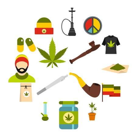 Rastafarian icons set in flat style. Marijuana smoking equipment set collection vector illustration Illustration