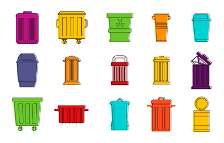 Garbage can icon set. Color outline set of garbage can vector icons for web design isolated on white background