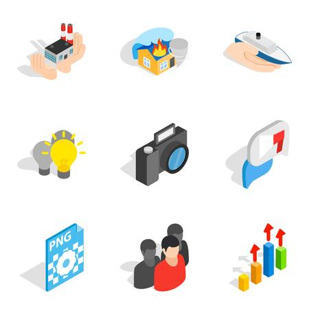 Business approach icons set. Isometric set of 9 business approach vector icons for web isolated on white background