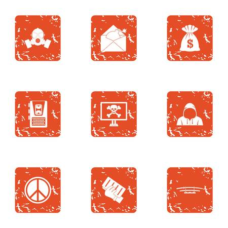 Dangerous cyber icons set. Grunge set of 9 dangerous cyber vector icons for web isolated on white background Illustration