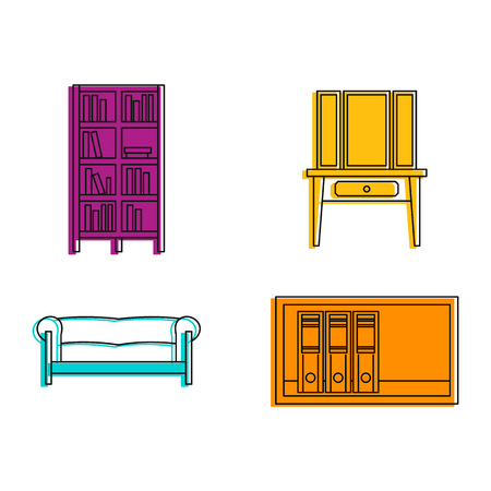 Furniture icon set. Color outline set of furniture vector icons for web design isolated on white background Stock Illustratie