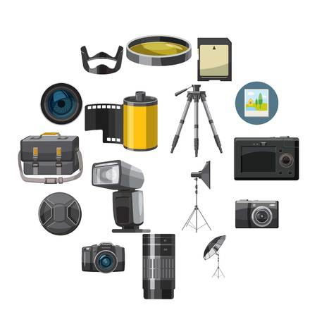 Photo icons set in catoon style isolated on white background