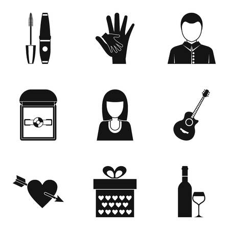Enter into marriage icons set. Simple set of 9 enter into marriage vector icons for web isolated on white background Çizim
