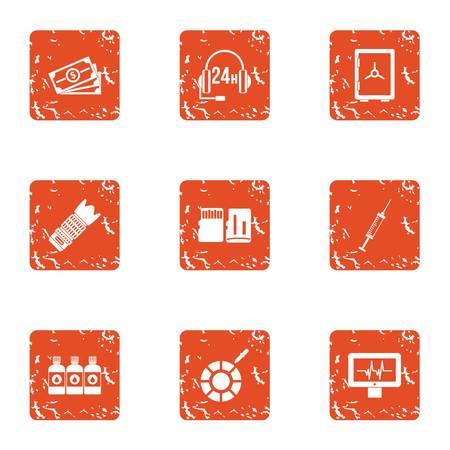Business telephony icons set. Grunge set of 9 business telephony vector icons for web isolated on white background Ilustração