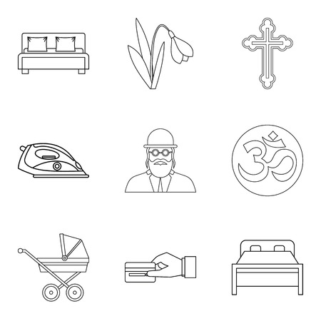 Mistress icons set. Outline set of 9 mistress vector icons for web isolated on white background