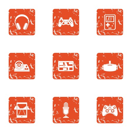 Modern automobile icons set. Grunge set of 9 modern automobile vector icons for web isolated on white background