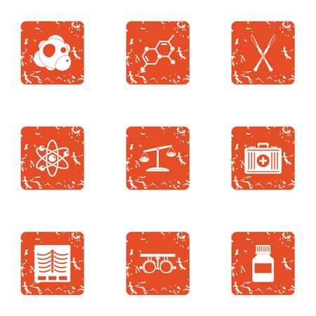 Bio-additive icons set. Grunge set of 9 bio-additive vector icons for web isolated on white background