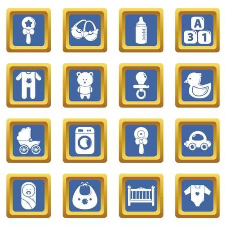 Baby born icons set vector blue square isolated on white background Illustration