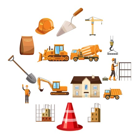Building icons set in cartoon style isolated on white background