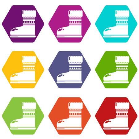 Ugg stivali icone 9 set colorato isolato su bianco per il web. Illustrazione vettoriale.
