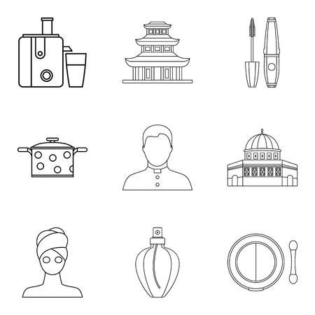 Little wife icons set. Outline set of 9 little wife vector icons for web isolated on white background