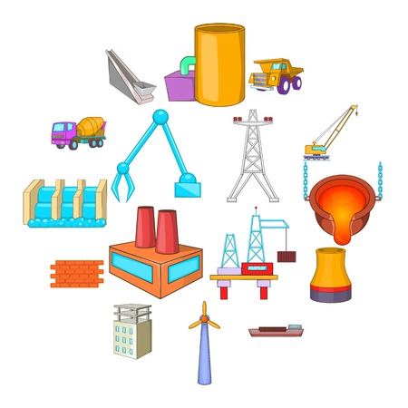 Industry icons set. Cartoon illustration of 16 industry vector icons for web