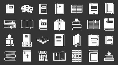 Books icon set vector white isolated on grey background
