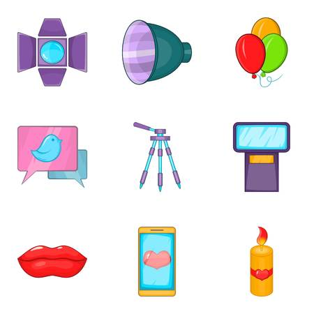 Sweetheart icons set. Cartoon set of 9 sweetheart vector icons for web isolated on white background Illustration