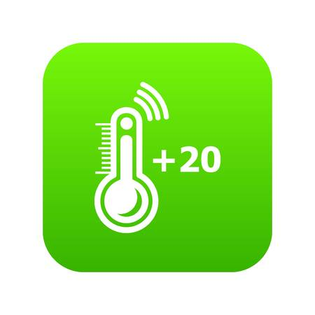 Thermometer icon green vector isolated on white background Illustration