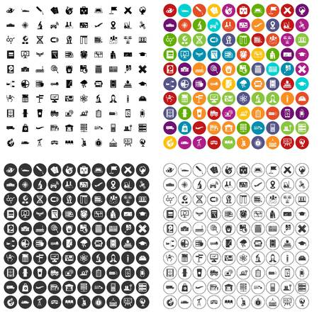 100 globe icons set vector in 4 variant for any web design isolated on white