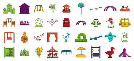 Kid amusement icon set. Color outline set of kid amusement vector icons for web design isolated on white background