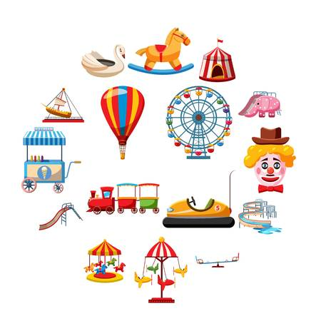 Amusement park icons set in flat style. Attraction park set collection vector illustration Illustration
